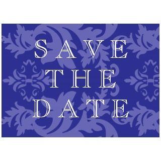 Simple Damask Royal Blue Wedding Invitation