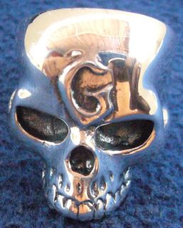 SPECTACULAR KEITH RICHARDS G SKULL ROCKER BIKER 100% STERLING SILVER