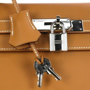 Authentic Hermes Kelly 35cm Rigid Gold Leather PHW Shoulder Strap Tote