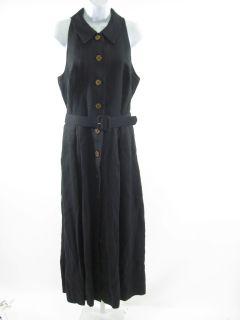 Kelly Graham Black Sleeveless Belted Linen Dress Sz 10