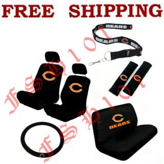 New NFL Chicago Bears Car Seat Covers Steering Wheel Cover Lanyard Set