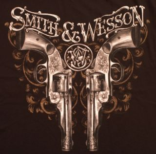 Smith Wesson T Shirt Double Pistols Black New