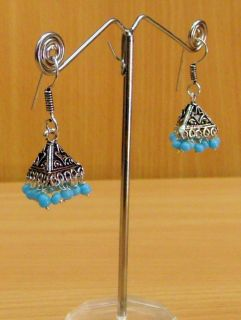 Indian Womans Girls Fashion Design Sky Blue Color Metal Earrings
