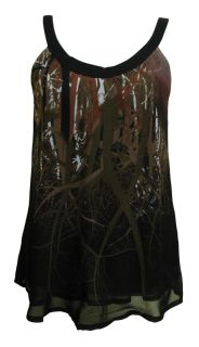 Black Brown Forest Print Chiffon Top Keely Size 10 New