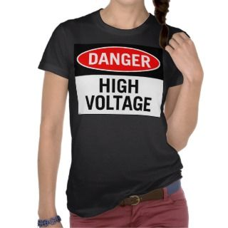 Retro Vintage Kitsch Danger High Voltage Sign T shirts