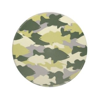 Bass Fishing Green Camo Drink Coaster
