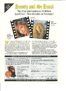 Beauty and The Beast Linda Hamilton Ron Perlman Full Page Video Ad