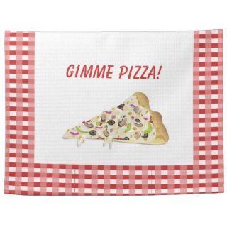 Gimme Pizza Pizza Slice Red Checks Border Dish Kitchen Towel