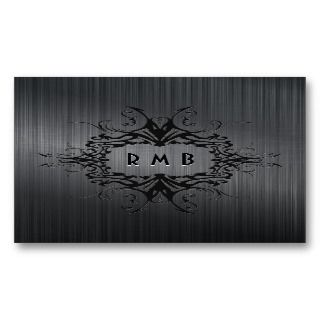 Elegant Black Brushed Metal Look Business Cards