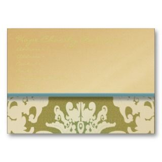 Aqua Pool Blue and Gold Damask Floral   Business Card