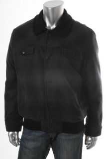 Kenneth Cole Reaction New IM So Plaid Wool Black Faux Fur Collar
