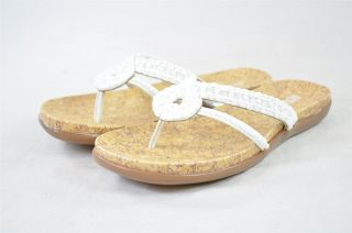 Kenneth Cole Reaction Glam Life White Jeweled Strap Flat Sandals