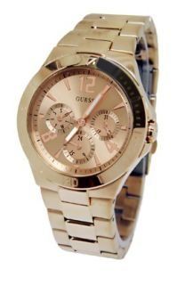 Guess U13624L1 Rose Gold Tone Chrono Dial Stainless Steel Band Women