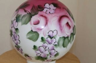 Vintage Hand Painted Flowers GWTW Oil Kerosene Globe Lamp Shade