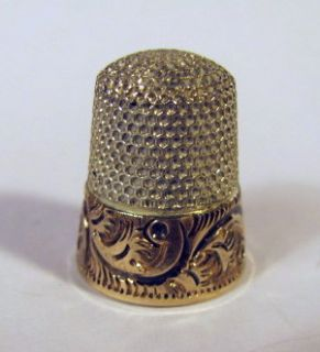 14K Gold & Sterling Silver Ketcham & McDougall Thimble PRETTY PRISTINE
