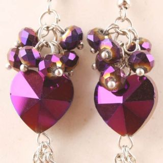 Purple Crystal Glass Heart Bead Dangle Earrings 1 Pair