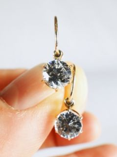 Antique Estate 2cts White Sapphire 14kt Gold Earrings