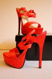 Kevin Aviance Red Satin Sz 6 Platform High Heels Strappy Shoes Sandals