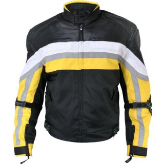 Kevlar Armored Black Yellow Tri Tex Fabric Leather Trim Jacket with