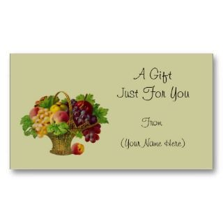 Vintage Fruit Basket Personalized Gift Card Tag Business Card Template