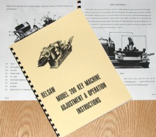 Belsaw 200 Key Maker Machine Instructions Parts Manual 0851