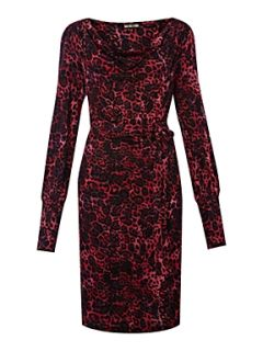 Biba Cowl neck leopard printed jersey dress Multi Coloured