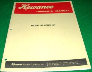 Kewanee Owners Manual Model 88 Mulcher