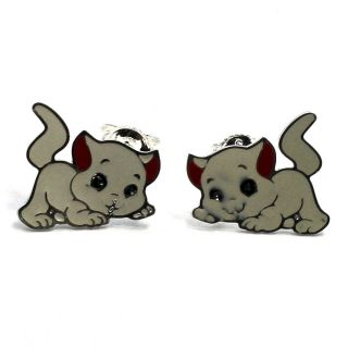 Kitty Kitten Cat Sterling Silver Filled 925 Earrings Kids Girl Red