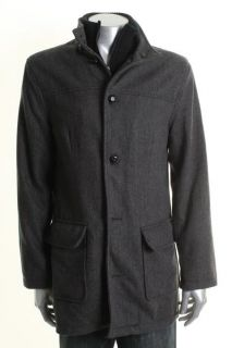 Kenneth Cole Gray Wool Herringbone Zip Front Lined Coat L BHFO