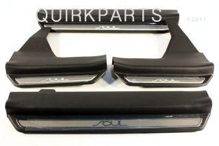 2010 2011 2012 KIA Soul Door Sill Plates Polished Aluminum GENUINE OEM