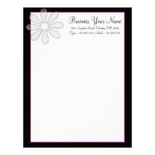 Negro y rosas fuertes con el papel con membrete de membrete a diseño