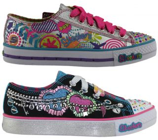 Skechers Twinkle Toes Girls Kids Lace Up Shoes Sneakers Light Up on