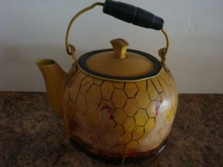 Vintage Metal Tea Kettle Handpaind Chicken