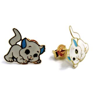 Light Blue Enamel Cat Kitten Girl Kids Earrings Push Back Stud