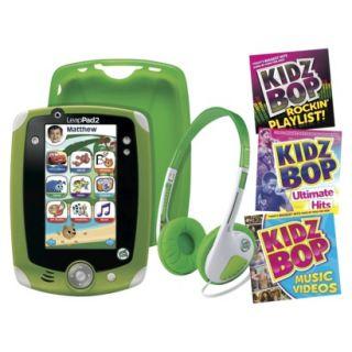 LeapPad2 Explorer Green Bundle Skin Headphones Music Kidz Bop Lot