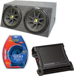 Kicker Car Audio Dual 12 Powered SEALED Sub Box Enclosure ZX400 1 C12