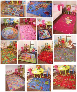 Kids Rugs Childrens Girls Boys Non Slip Mat World Map Pink Roads Farm