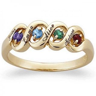 Silver with Gold Mothers Ribbon Birthstone Ring 2 to 5 Stones