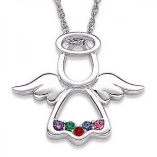 Personalized Sterling Silver Family Mothers Birthstone Angel Pendant 5
