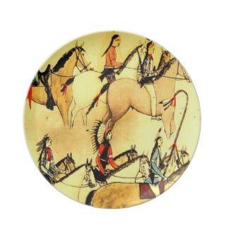 Native American Indian Primitive Art Drawings Dinner Plates