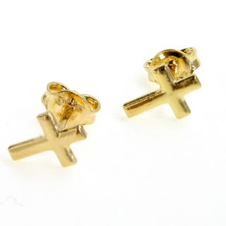 GF Tiny Crucifix Cross Earrings Girl Baby Kids Push Back Stud