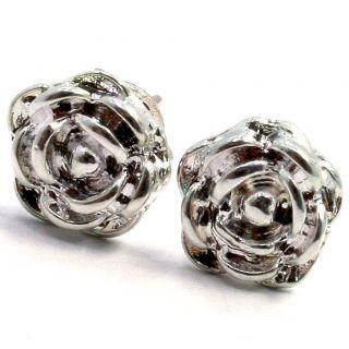 Sterling Silver Filled 925 Earrings Girl Kids 7mm Rose Flower Stud
