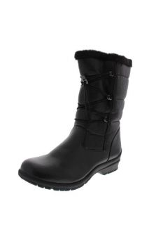 Khombu New Bungee Black Weatherproof Mid Calf Faux Fur Lined Snow