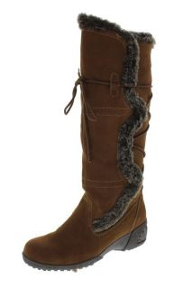 Khombu New Brown Suede Faux Fur Trimmed Wedge Knee High Snow Boots