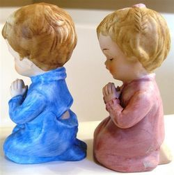 Praying Brother Sister Ceramic Figurine Set Adorable