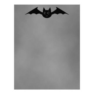 Cute gothic Halloween vampire bat with big eyes Letterhead Template