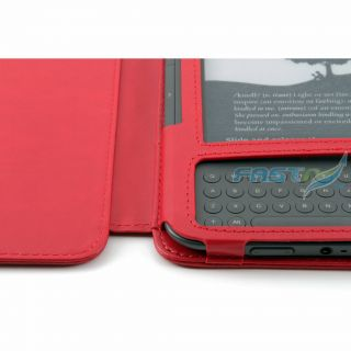 Kindle 3 Luxury Red Leather Case LED Reading Light