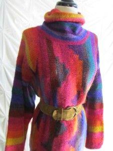 Mariea Kim Pink Indian Turkish Kilim Wool Blend Oversize Sweater Dress
