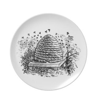 Vintage Beehive Honey Bees Beekeeping Dinner Plate