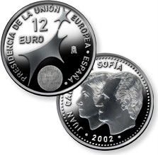 Spain 2002 12 o Silver Coin Presidency EU Proof